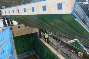 Installing the 'warm roof' panels by Eden Insulation in a house built to Passivhaus specification