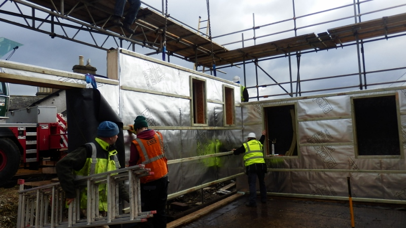 Erecting the airtight insulated frame by Eden Insulation at Levens Cumbria