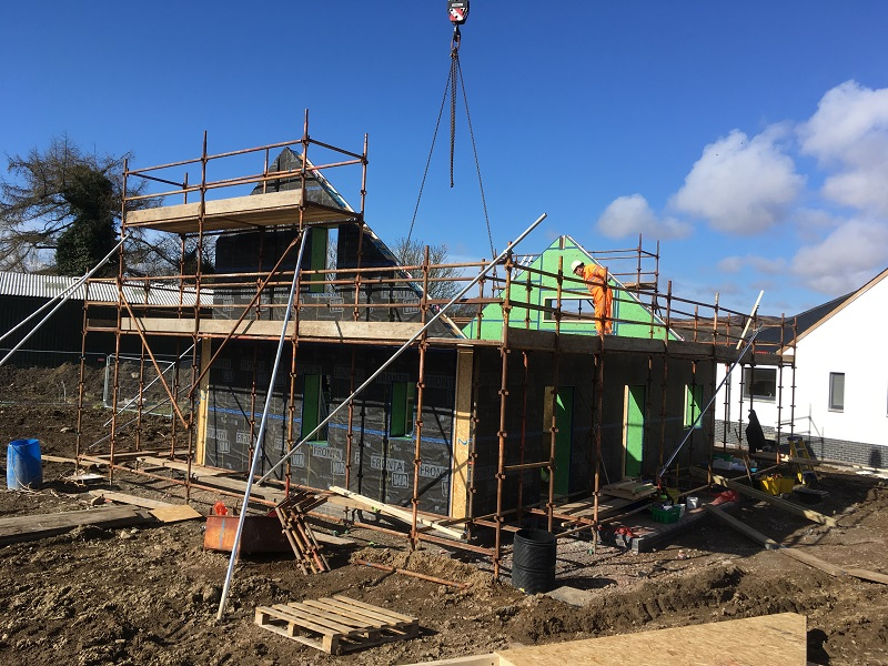 Ground floor walls and gables at small Passivhaus in Gatehouse-of-Fleet