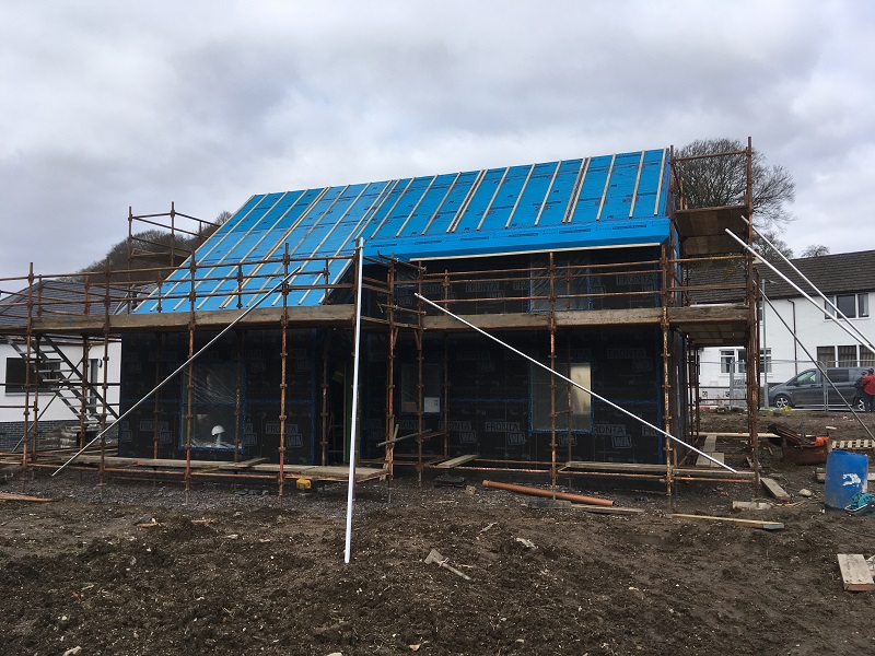 South elevation at small Passivhaus in Gatehouse-of-Fleet