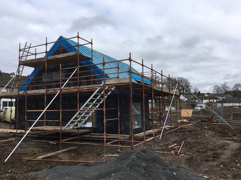 Completed timber frame east gable at small Passivhaus in Gatehouse-of-Fleet