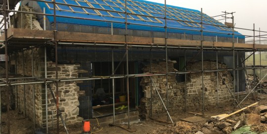 Finished timber frame sitting inside existing barn walls Converted Barn, Lanchester, County Durham